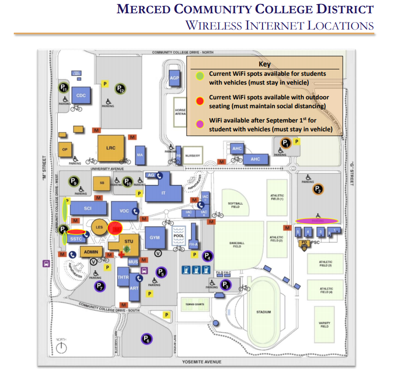 wireless internet locations on campus